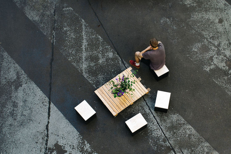 High angle view of woman on road