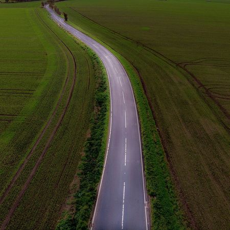 Road Road Green Color Plant No People Land Grass Road High Angle View