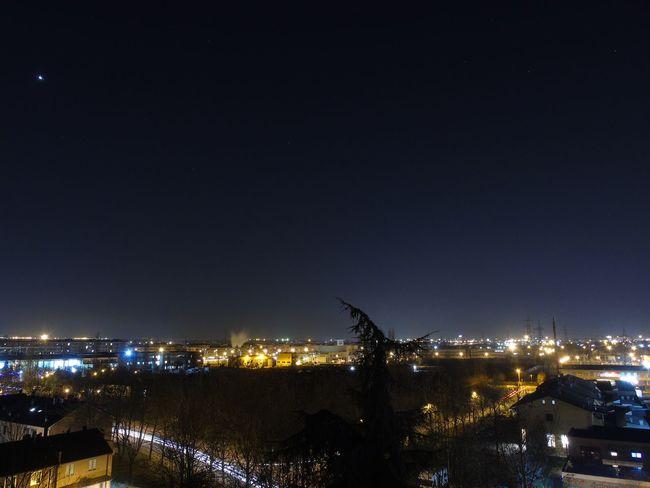 Night Illuminated Sky City Blue Lights Minimal