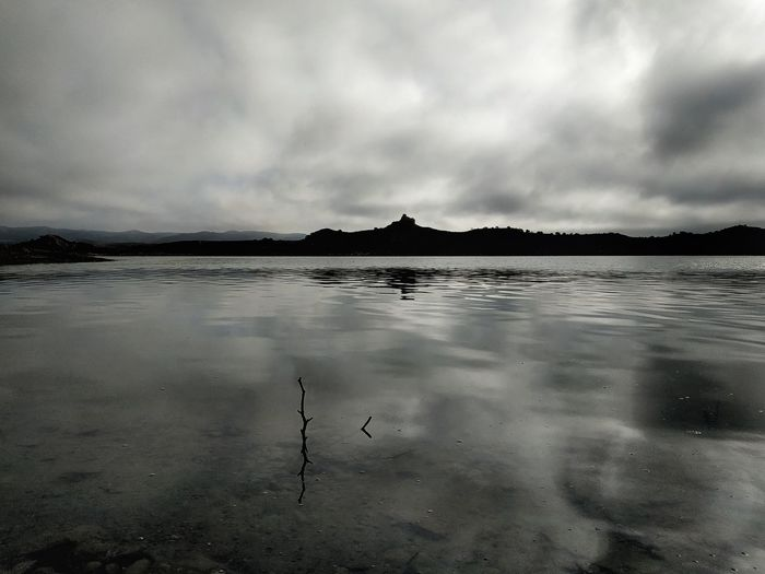 View of lake against cloudy sky
