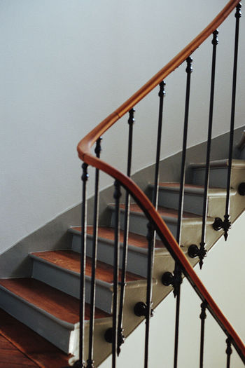 Low angle view of spiral staircase at home