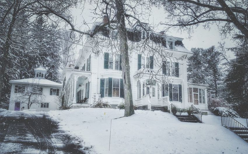 Old Victorian Home Large New England Home Old Victorian Home Outdoor Photography New England Charm Snow Flakes ❄⛄ Cloudy Sky Large Snowdrops Snow Falling Down New Hampshire, USA Large New England Home Snow Winter Cold Temperature Tree Building Exterior Architecture Built Structure Nature Building Day White Color No People Snowing Outdoors