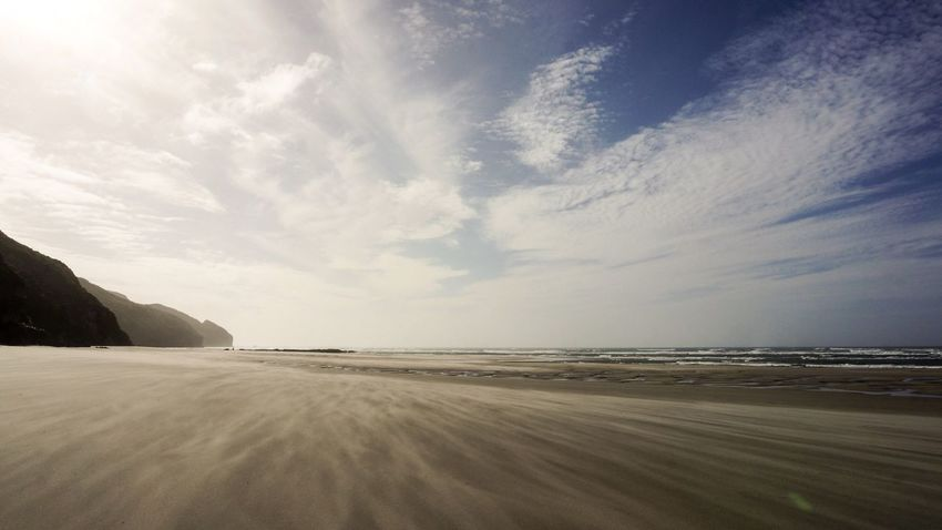 Sea New Zealand Beach Sky Sand Dynamic Sun Wind Windy Cliff
