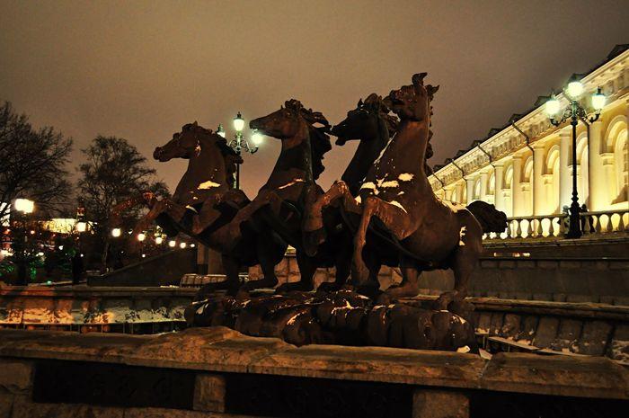 Кони на Манежной Москва Манежня Площадь Кони