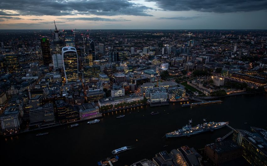 London Tower Blue Hour City City Of London Cityscape HMS Belfast Modern River Thames Aerial View Capital Cities  City Lights High Angle View Illuminated Office Building Exterior Residential District River Skyscraper Travel Destinations View From The Shard Warship Water The Architect - 2018 EyeEm Awards