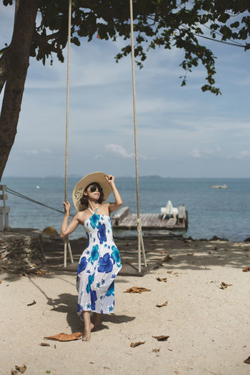 One Person Sae Protrait Of A Women Travel In Thailand Sunglasses Swing Summer