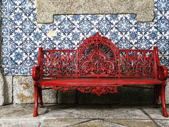 Passions Art And Craft Seat Red Architecture Built Structure Pattern No People Wall - Building Feature Day Bench Outdoors Design Flooring Decoration Craft Absence Creativity Building Exterior Tile Nature