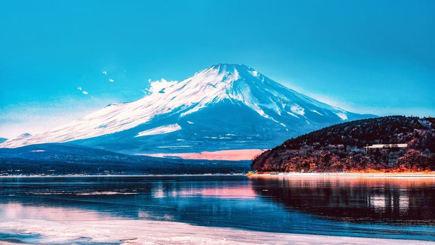 Fujimountain Fujifilm Mountain Snow Reflection Cold Temperature Beauty In Nature Blue Shades Of Winter Lake Frozen Landscape Winter
