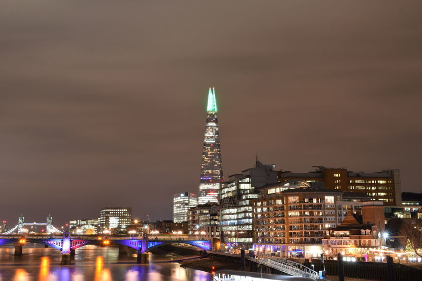 London The Shard By Night The Shard, London Architecture Bridge Building Exterior Built Structure City Cityscape Green Light Illuminated Modern Night No People Outdoors Sky Skyscraper Southbank London The Shard Tower Travel Destinations Urban Skyline