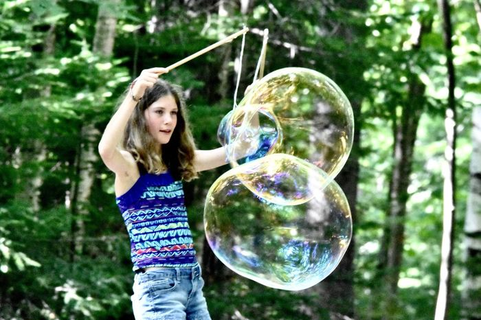 Bubble Childhood Giant Bubbles Green Color Leisure Activity Multi Colored Rainbow Colors In Bubble Two Is Better Than One
