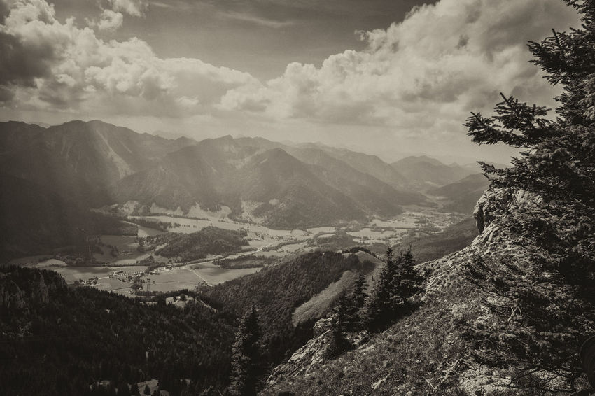 Wendelstein, Bavarian Alps Alpen Black & White Panorama Panoramic View Wendelstein Alps Bavarian Alps Beauty In Nature Black And White Blackandwhite Cloud - Sky Day Fir Landscape Mountain Mountain Range Nature No People Range Sepia Sky Travel Destinations Tree Valley