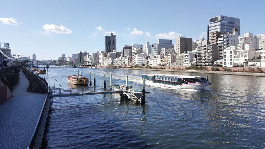 City Sky Sunny Noon River Boat Tokyo Japan Ship Transportation Masstransportation Tour