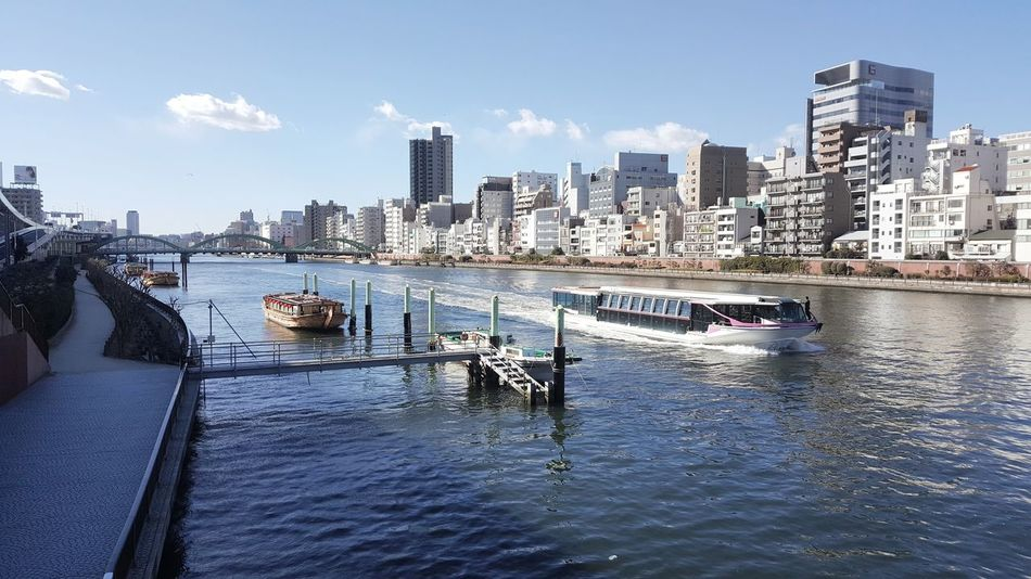 City Sky Sunny Noon River Boat Tokyo Japan Ship Transportation Masstransportation Tour