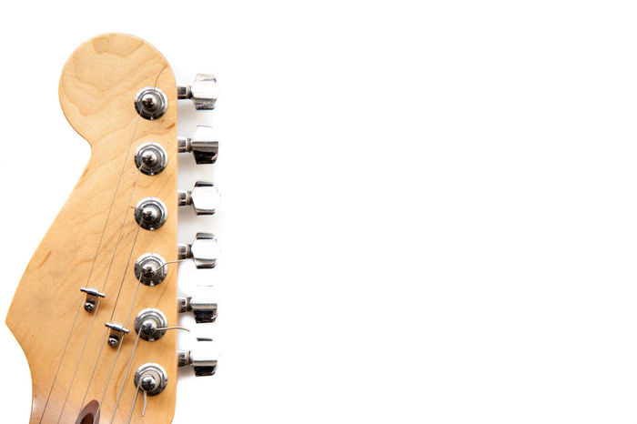 Electric guitar headstock detail on white Chords Detail Electric Guitar Guitar Headstock Music Instrument Stringed Instrument Symbol White Background