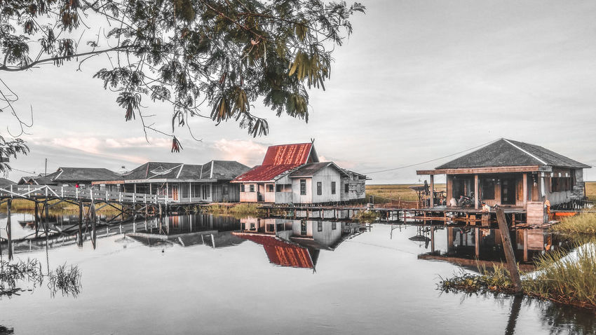EyeEm Indonesia Landscape Landscape_Collection Landscape_photography Water Reflection House Building Exterior Outdoors Built Structure Day Architecture Nature No People Sky Horizon Over Water Tree Lake Beauty In Nature Colour Your Horizn Adventures In The City Going Remote