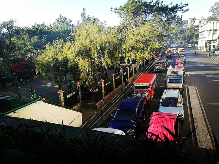 Taken at the Summer Capital Of The Philippines, Baguio City after Morningwalk Outdoors Tree Car Mode Of Transport City Day Jeepneys Traveling Home For The Holidays Urban Scene Adapted To The City Igorot Park