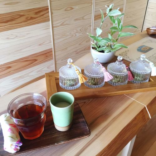 Relaxing Moments Relaxing Time Wood - Material Table Drink Herbs Wood Cedar
