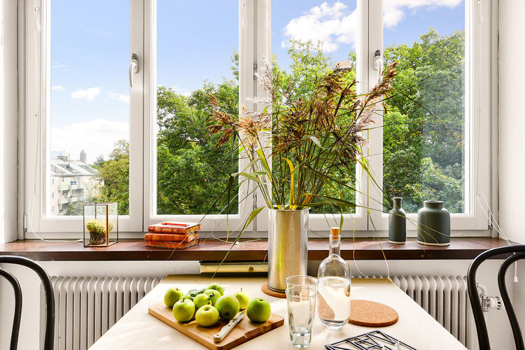 Swedish Interior design. Arrangement Choice Culture Decoration Flower Flower Pot Geometry Green Green Color Growing Growth Home Indoors  Interior Interior Design Interior Views Kitchen Table Leaf Plant Potted Plant Symmetry Table Variation Vase Wall