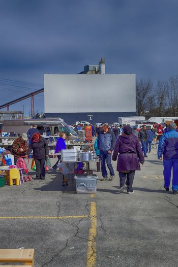 Adult Cinema Crowd Day Drive-in Theater EyeEmNewHere Fleamarket Large Group Of People Lifestyle Photography Men MOVIE Outdoors People Real People Rear View Screen Sky Springtime Walking Women