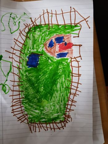 my 5 years old son art Drawing Kids Playing Child Drawing Green Color No People Indoors  Close-up Day