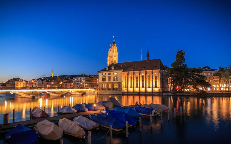 Wasserkirche in zur blauen Stunde Blue Hour Church Architecture Blue Boat Building Exterior Built Structure City Cityscape Clear Sky Illuminated Night Outdoors River Sky Water