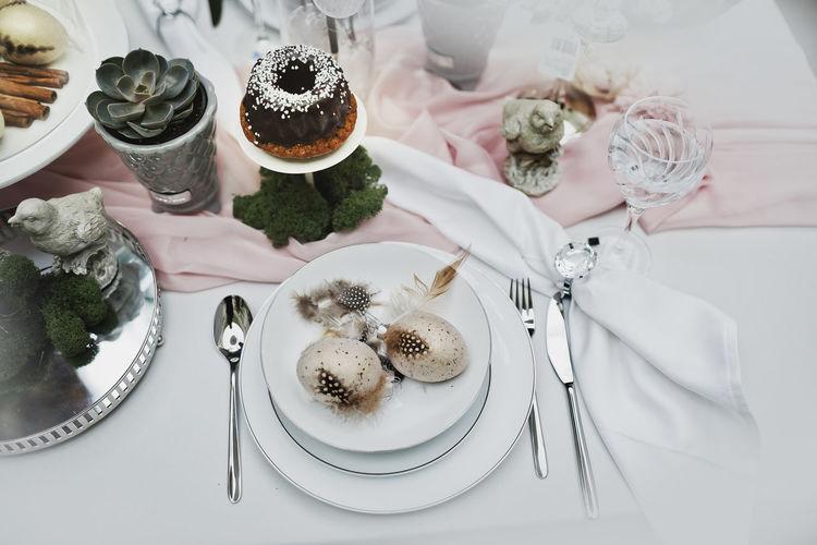 High angle view of cake on table
