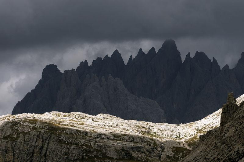 Cloudy Dolomiten Dolomites Dolomites, Italy Ferata Landmark Landscape Lavaredo Non-urban Scene Relax Relaxing Resort Scenics Sky Storm Storm Cloud Tranquil Scene Tranquility Travel Tre Cime Tre Cime Di Lavaredo Via Ferata