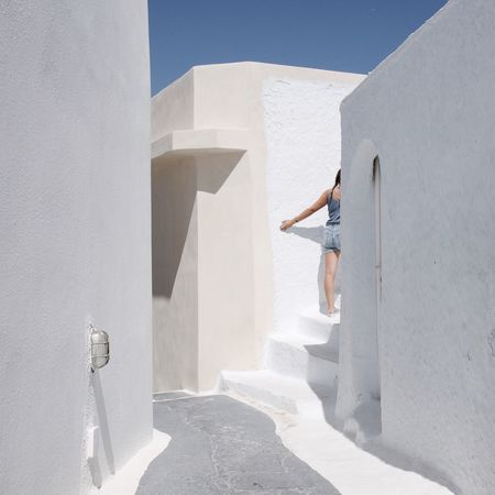 Architecture Built Structure Whitewashed Sunlight White Color One Person Shadow Day Rear View Real People Building Exterior Lifestyles Leisure Activity Casual Clothing Outdoors Full Length Standing Young Women Men Women The Week On EyeEm