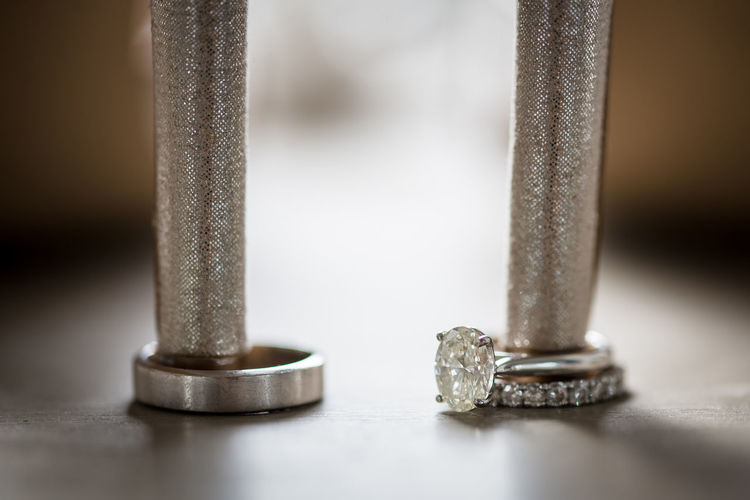 Close-up of metal table