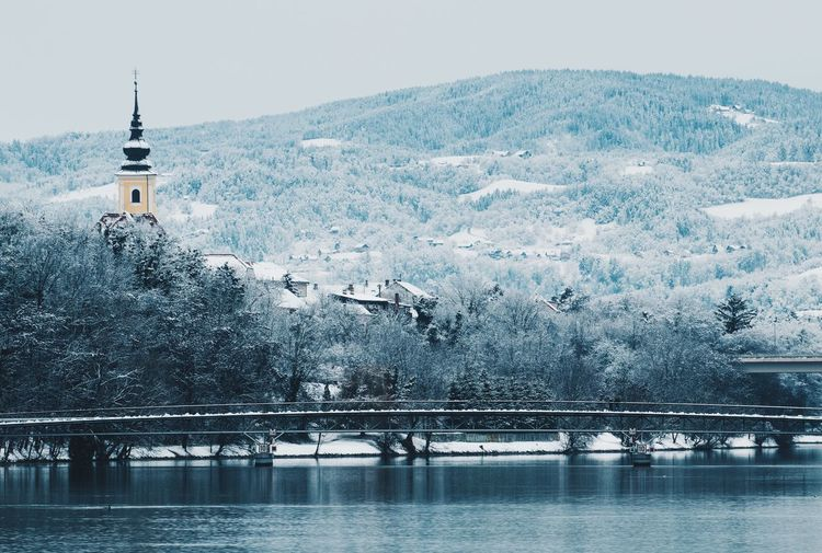 Sightseeing Tranquility Wintertime Architecture Bridge - Man Made Structure Built Structure Cold Temperature Landscape Maribor Mountain Nature Nature_collection Nature_perfection Naturelovers River Scenics Snow Tranquil Scene Urbex Water Winter Winter Trees Winter Wonderland