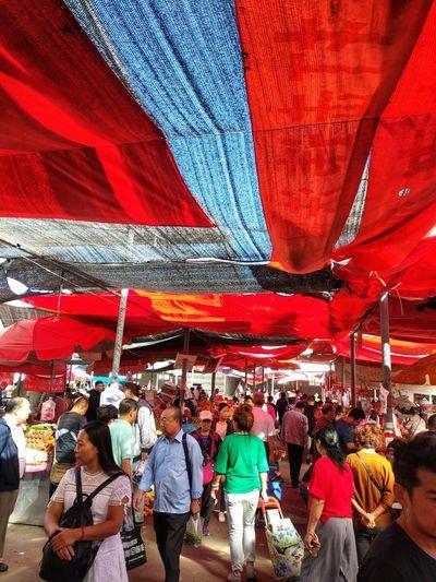 Crowd Men Women Market Stall Farmer Market Market