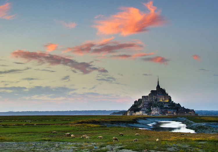 View of mont saint-michel against sky during sunset