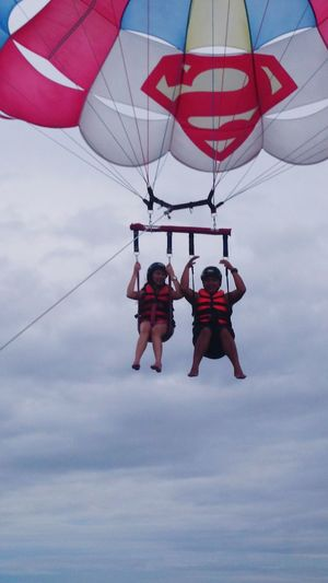 Up, up, and away... Superman Adventure Flying High Honeymooners Blue Sky Boracay2015❤️ Feel The Journey Enjoying Life ♥ Summertime Beach Life Happiness Vacation Time ♡ Parasailing Been There. The Week On EyeEm Done That. EyeEmNewHere