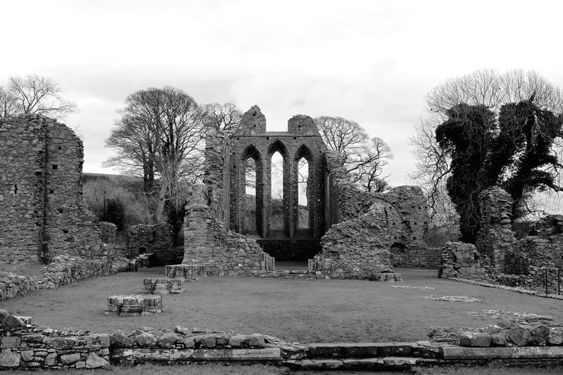 If you've watched Game of Thrones, this may be familiar to you. This is Inch Abbey or Robb Starks Camp in GoT … Old Ruin History Ancient Architecture Built Structure Tree Outdoors No People Sky Nature Building Photography Building Exterior Landscape Blackandwhite Stone Abbey Religion Black And White Friday