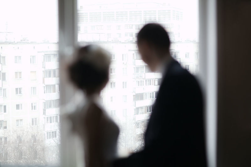 Abstract Bride Caucasian Celebration Couple Defocused Festive Groom Look Man Married Marry Romantic Silhouette Two Washed Out Watch Wedding Window Woman