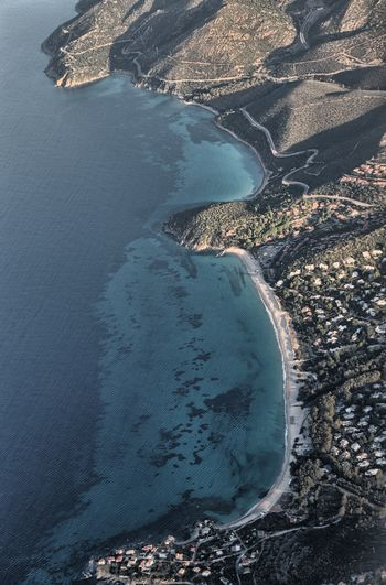 Aerial view of geremeas beach, sardinia, italy