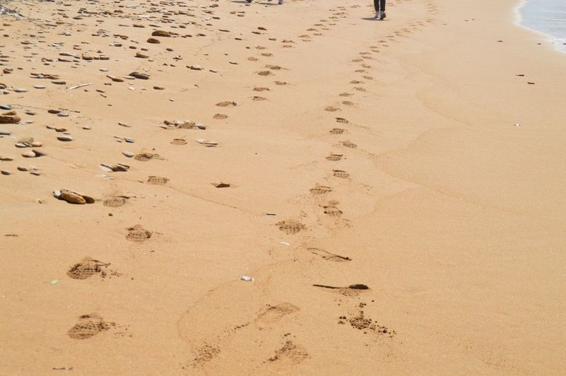 Close-up of footprints on sand at beach