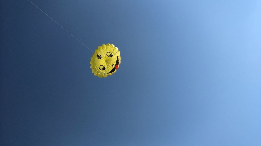 Smiley Faces Activity Sports Activity Yellow Entertainment Fun Paragliding Air Sport Kite Parachute Smile Smiley No People Communication Day Sky Outdoors Copy Space Copyspace Negative Space Up In The Air Up The Week On EyeEm Kite Surfing Paint The Town Yellow