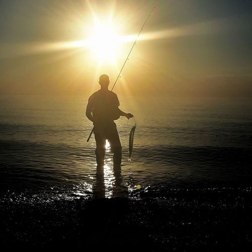 Seatroutfishing Seatrout Hornhecht Water Sea Men Sunset Standing Sportsman Sunlight Fishing Silhouette Fisherman Fishing Rod Catch Of Fish Fishing Tackle Sunbeam