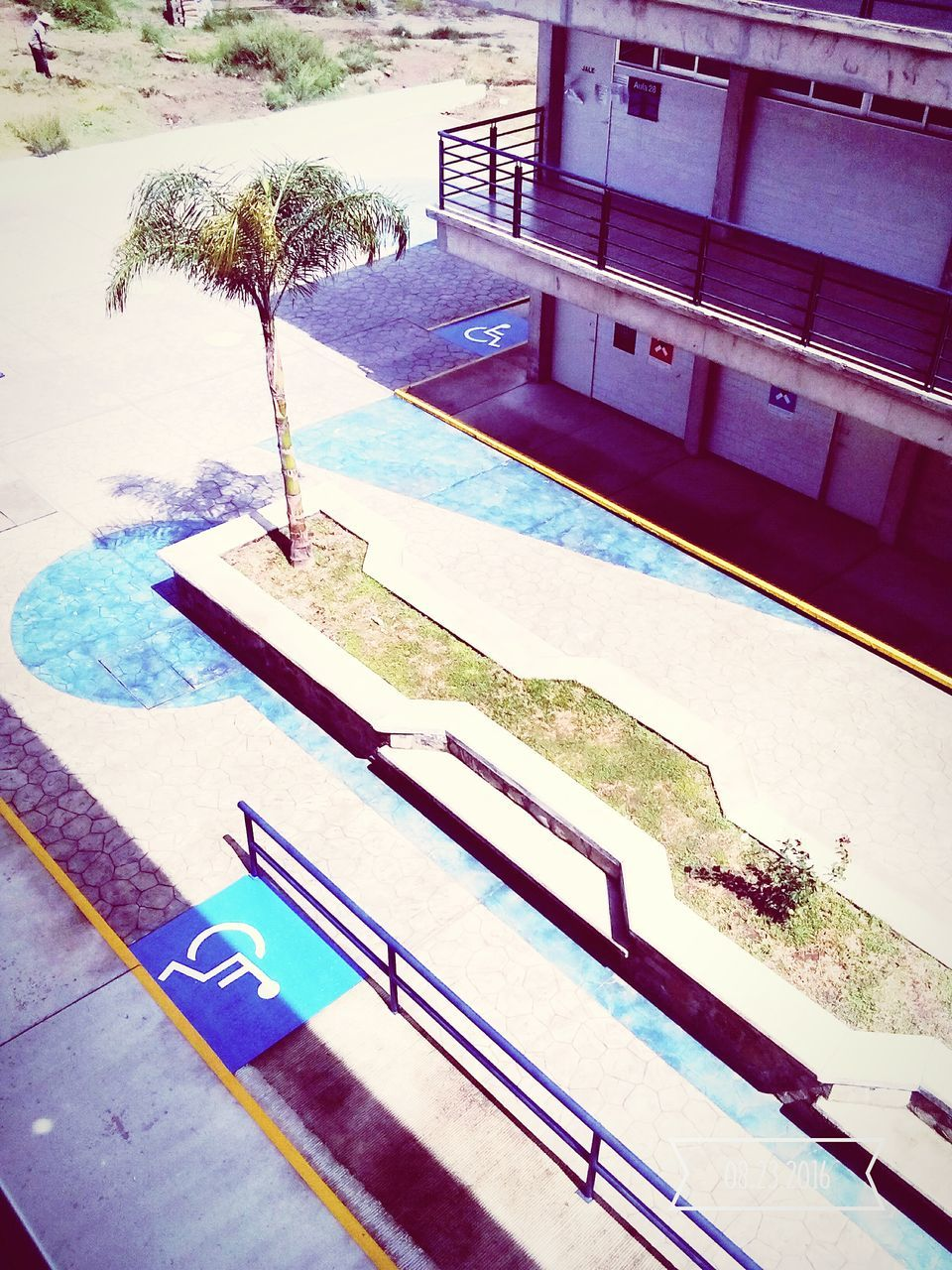 swimming pool, high angle view, water, no people, outdoors, day, terrace, vacations, built structure, tree, architecture, nature