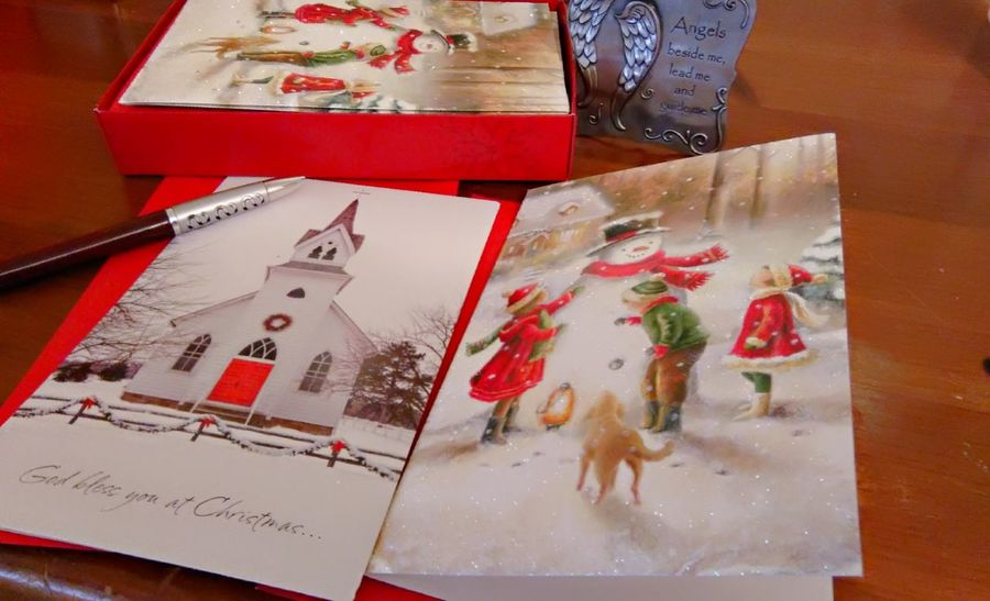 Sending Christmas Wishes Photography Indoors  Red Close-up EyeEm Gallery Cards Snail Mail Christmastime Christmas Cards Postage Stamp Pen Photooftheday No People Njphotography