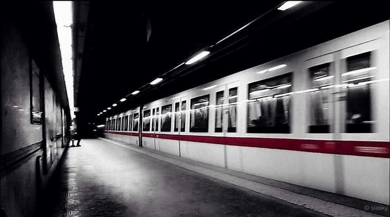 public transportation, train - vehicle, transportation, illuminated, railroad station platform, subway train, blurred motion, night, railroad station, mode of transport, passenger train, rail transportation, motion, indoors, no people, city