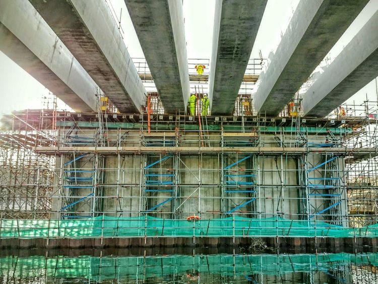 Building Bridges New Bridge Bridge - Man Made Structure Scaffolding Builders Massive Concrete Beams Canal Reflections