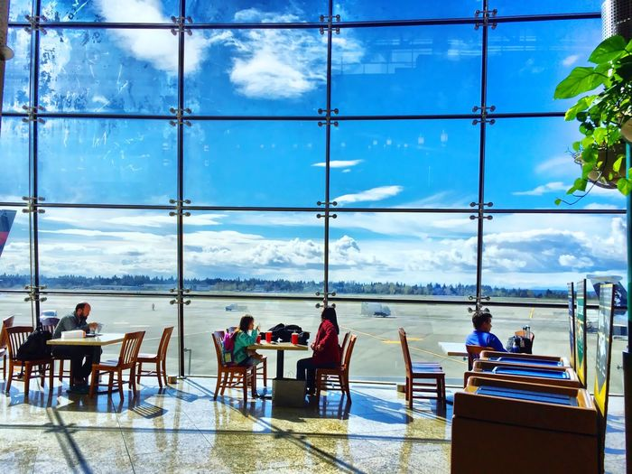 Dining experience, enjoying 'sun breaks' at Seattle International Airport Seattle Seattle International Airport Dining Area Dining With A View
