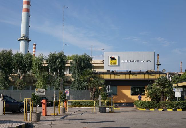 ENI refinery in Taranto, Apulia. Eni SpA is the Italy's largest oil company Eni Industrial Industry Building Exterior Built Structure Factory Refinery Sign