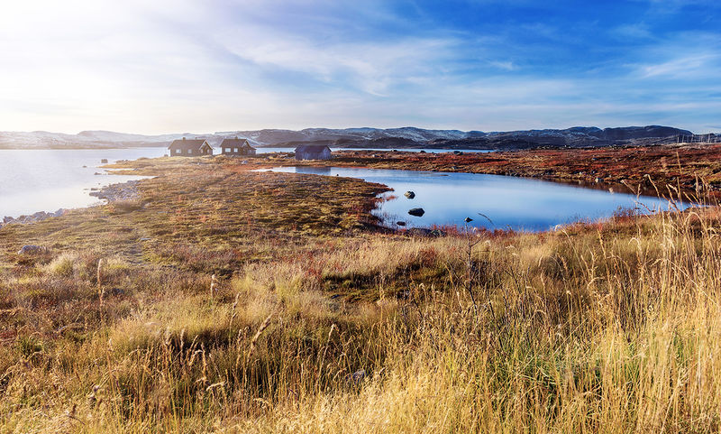 Blue Nature Sky Awe Water Outdoors No People Landscape Scenics Beauty In Nature Nature Reserve Day Norway Hardangervidda Sunny Cottage Lake Autumn Mood Journey Grass