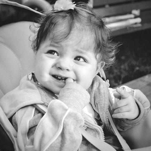 Innocence Babyhood Baby Baby Girl Baby Photography Black & White Baby Portrait Babies Only Cheerful Babyface