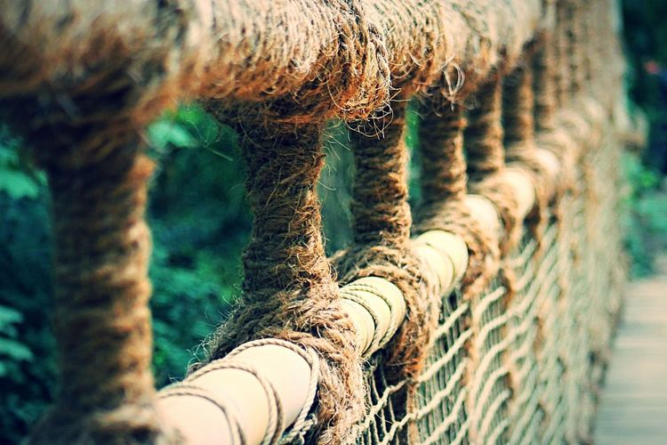 Railing made of rope on bridge