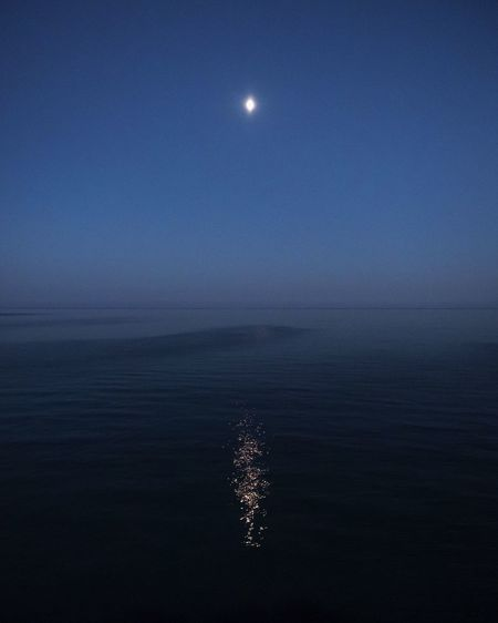 Night Moon Water Night Sea Sky Full Moon Scenics - Nature Beauty In Nature Nature Tranquility Moonlight No People Horizon Over Water Tranquil Scene Outdoors Dusk Space Blue Planetary Moon Reflection