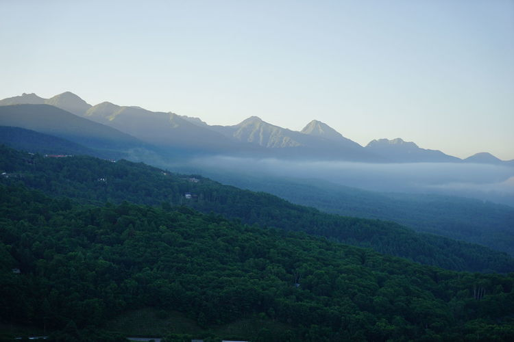 Scenic view of mt yatsugatake against clear sky